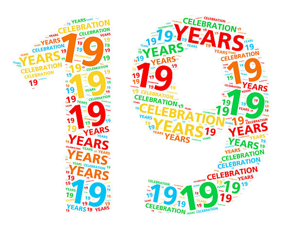 colorful word cloud for 19 year birthday or anniversary - number 19 stock photos and pictures
