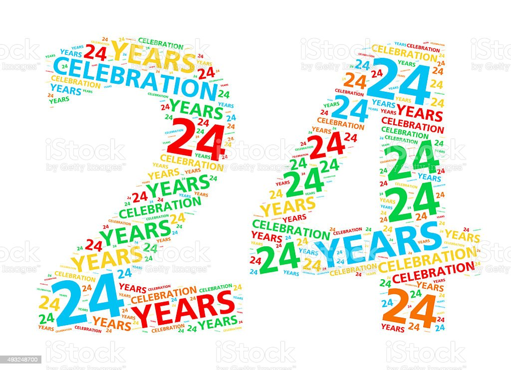 Colorful word cloud for 24 year birthday or anniversary stock photo