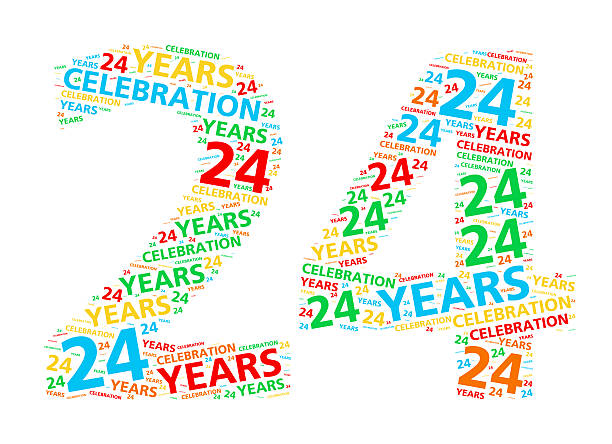 coloré mot nuage pour 24 ans anniversaire ou un anniversaire de mariage - nombre 24 photos et images de collection