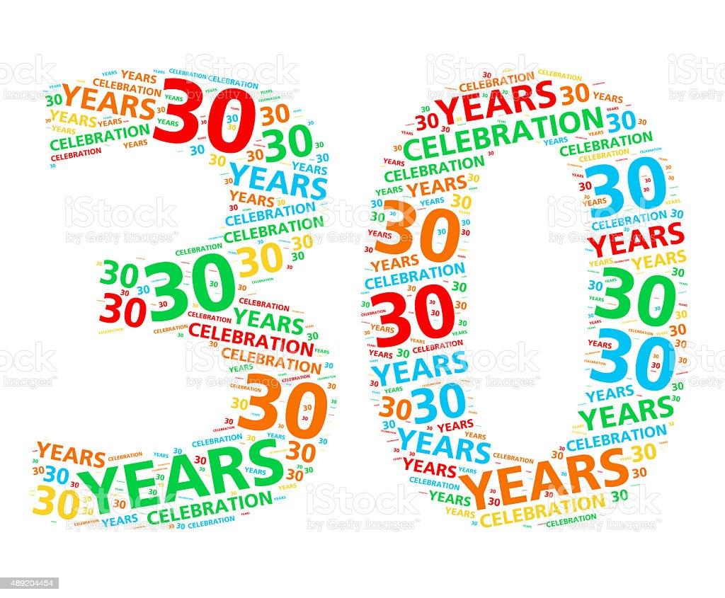 Colorido nube de palabras para 30 años de cumpleaños o aniversario - foto de stock