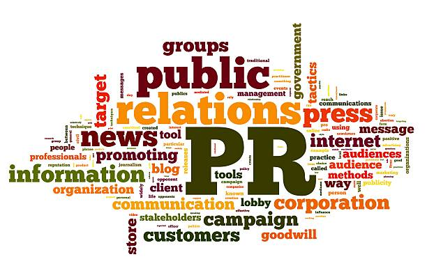 Colorful word cloud with public relations concepts stock photo