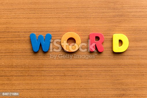 word colorful word on the wooden background
