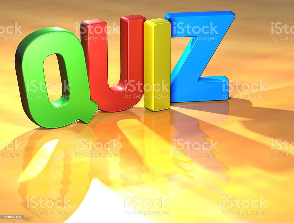 Colorful word quiz on a yellow background stock photo