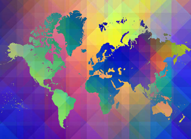Colorful world map stock photo