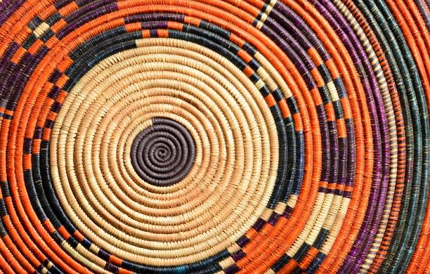 Colorful woven plate, Omdurman Market, Khartoum, Sudan Khartoum, Sudan: colorful woven plate with geometrical pattern - Omdurman Market omdurman stock pictures, royalty-free photos & images