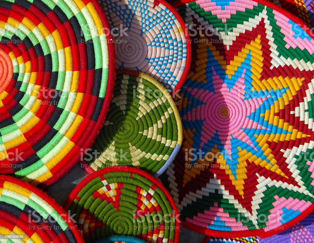Colorful woven plates of Ethiopia stock photo