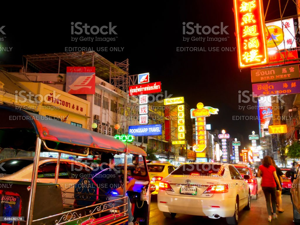 Colorful Yaowarat road and traffic in Bangkok's Chinatown at night stock photo