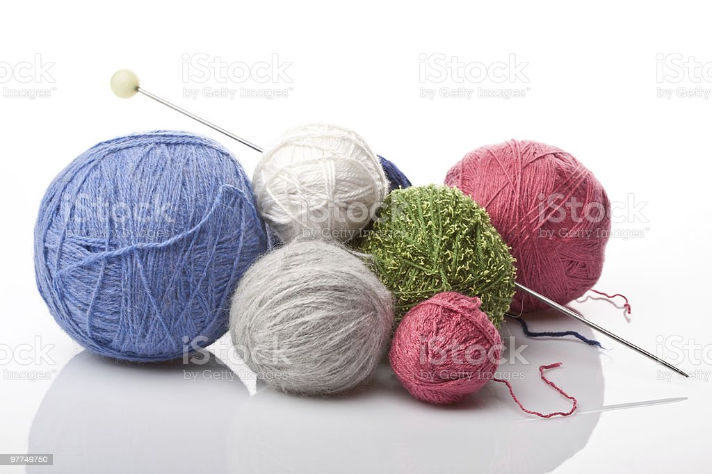 colorful yarn balls on white royalty-free stock photo