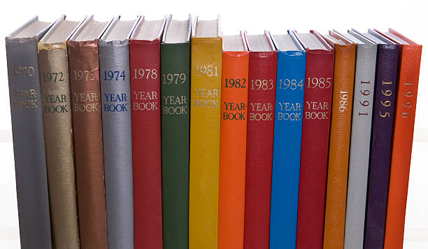 colorful yearbooks stock photo