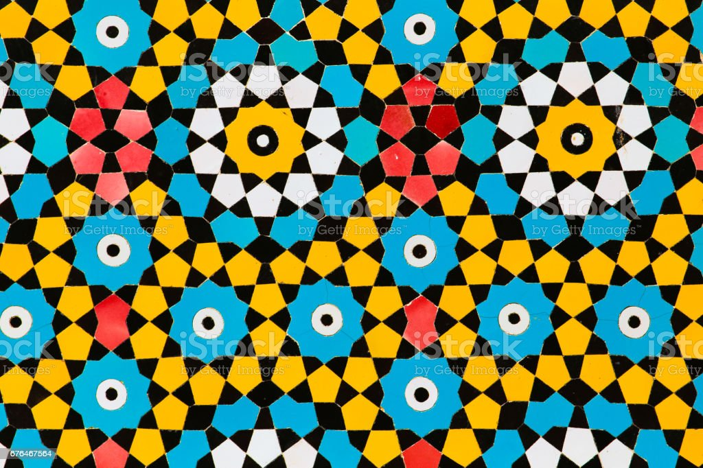 Colorful Yellow And Blue Circles Islamic Decoration Art Mosaic On A ...