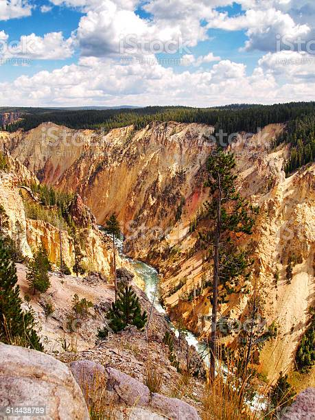 Colorful Yellowstone Canyon with river flowing