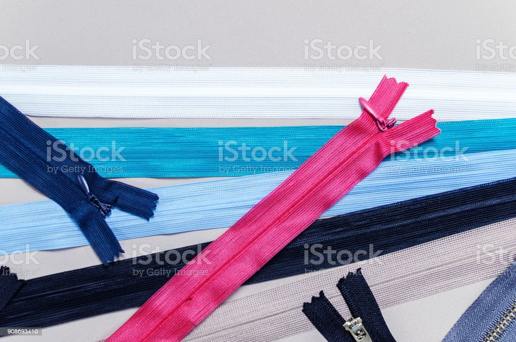 colorful zipper with a top view stock photo