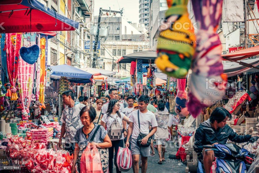 colorfull Baclaran Street Market in Manila, Philippines stock photo