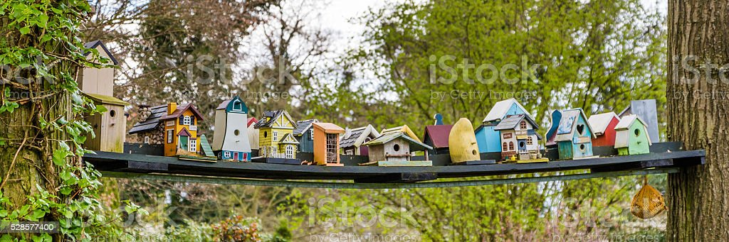 Colorfull bird houses stock photo