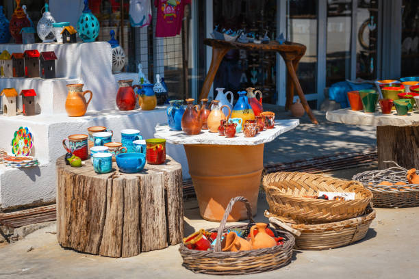 colorfull ceramic craft products made on crete island - souvenir foto e immagini stock