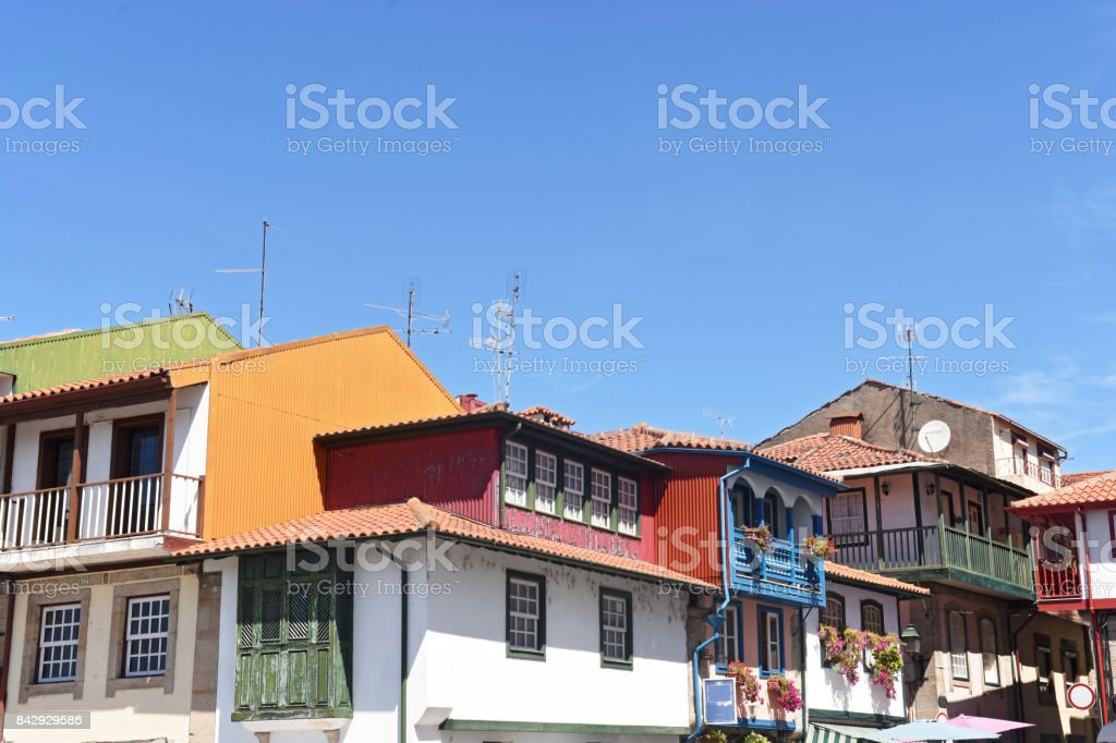 Colorfull house in Chaves,Portugal stock photo