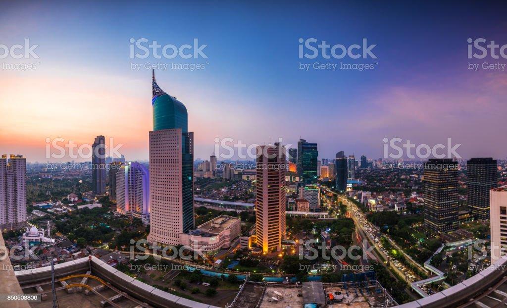 colorfull Jakarta Skyline at dawn stock photo