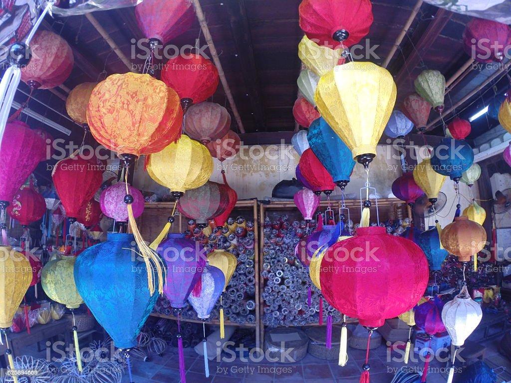 Colorfull lampions in Vietnam stock photo