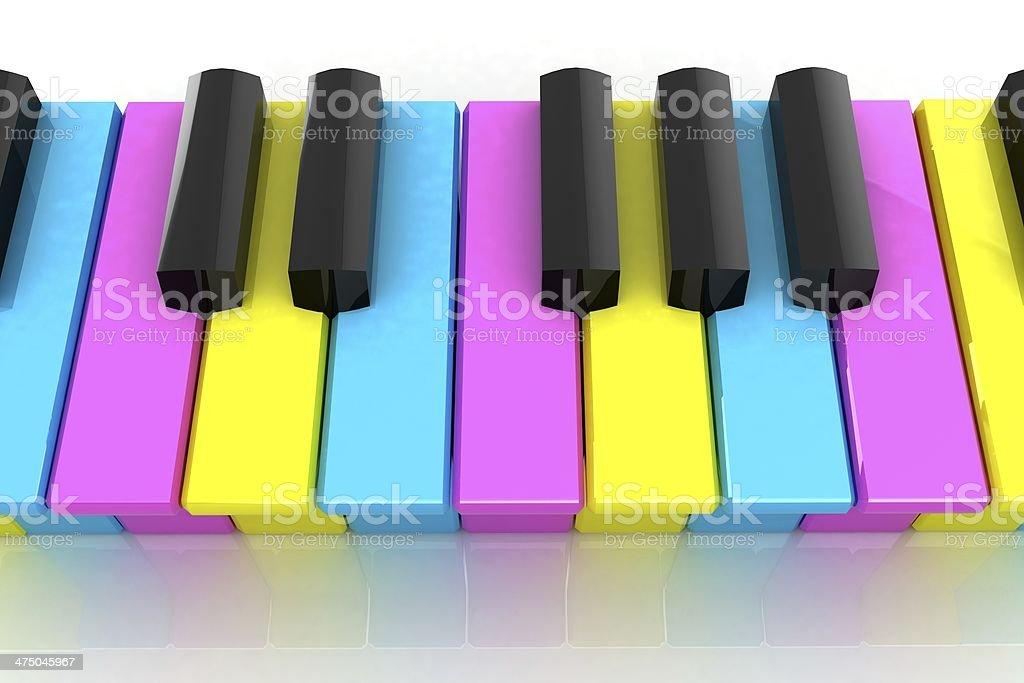 Colorfull piano keys stock photo