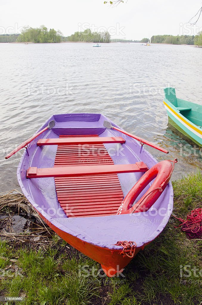 colorfull spring boat on lake royalty-free stock photo