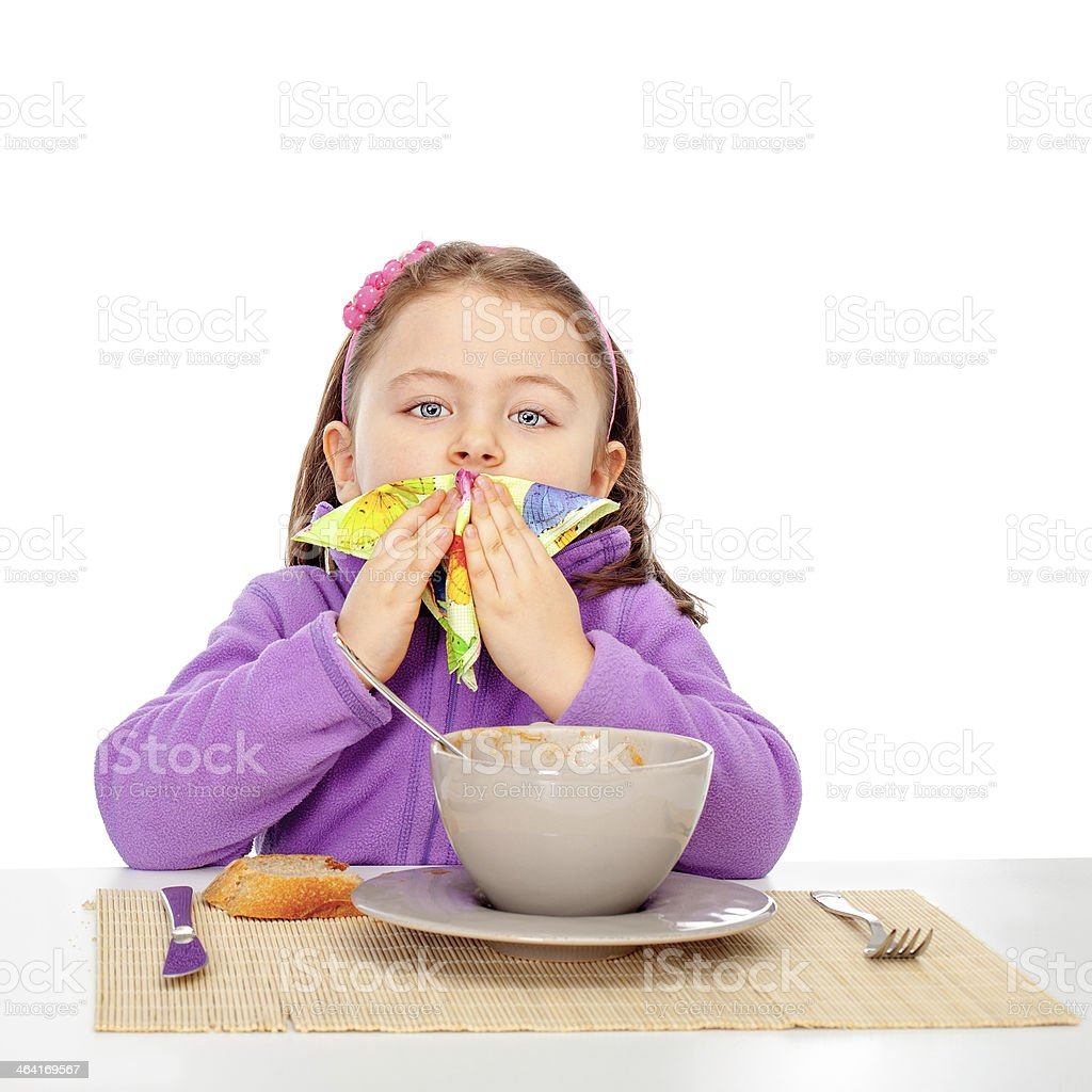 Colorfull tissue and little girl stock photo