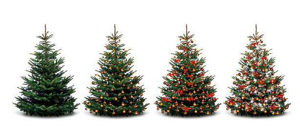 Colorfully decorated Christmas tree against a white background