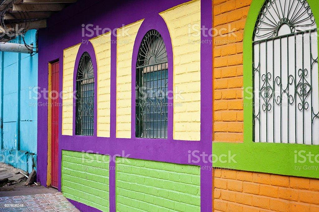 Colorfully Painted Buildings in San Juan del Sur stock photo