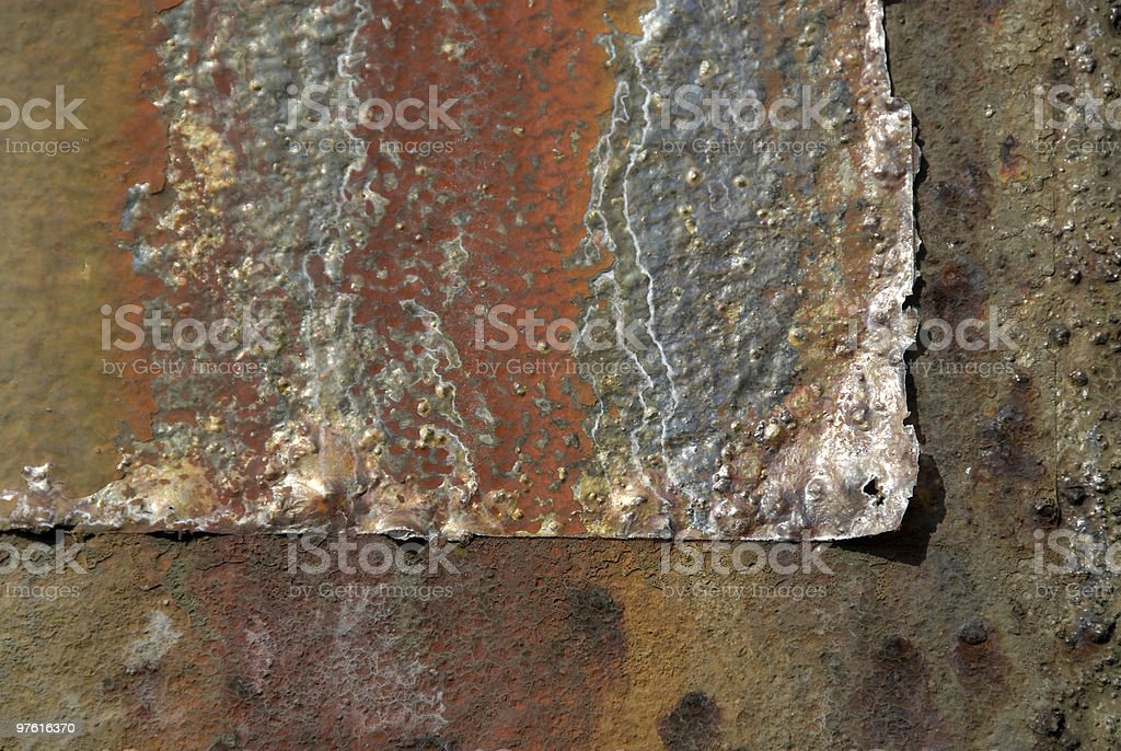 Colorfully weather-beaten rust on old steel construction royaltyfri bildbanksbilder