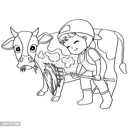 Fotografía de Libro Para Colorear Niño Alimentación Vector De Vaca y ...