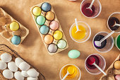 Coloring Easter eggs with a natural dye. Receipe for homemade dye - Add a quarter of water, tablespoon salt, 2 table spoons vinegar and the vegetable or spice in which color you like. Bring to boil and simmer for fifteen minutes, then remove pot from the burner. With the cold dye you can color the boiled eggs.