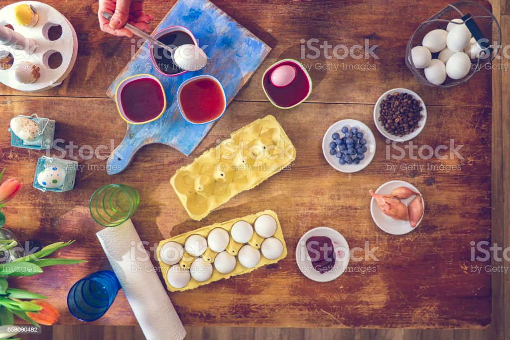 Coloring Easter Eggs with Natural Dye royalty-free stock photo