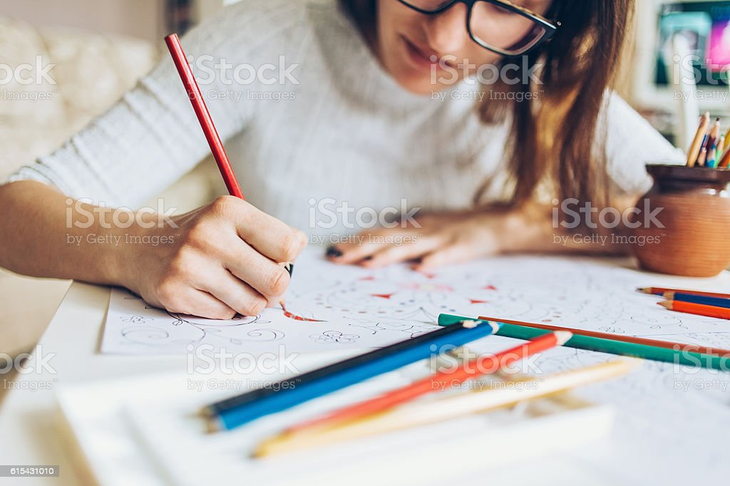 Coloring for adults stock photo