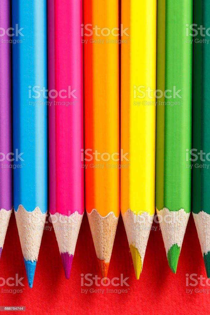 Coloring Pencils On A Red Background Stockfoto und mehr Bilder von ...