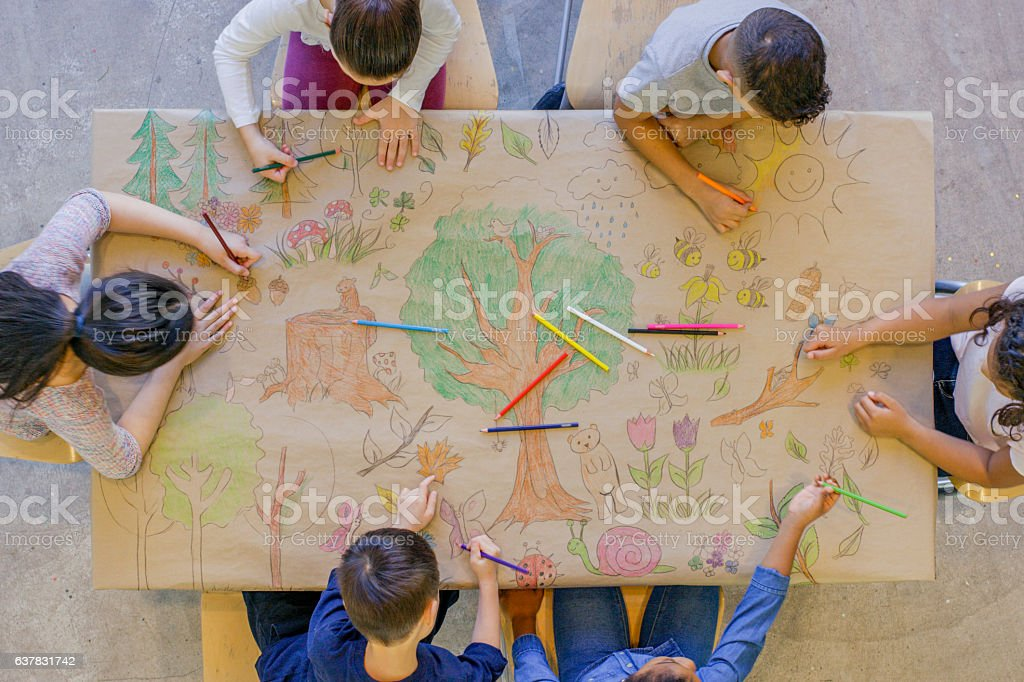 Coloring Together stock photo