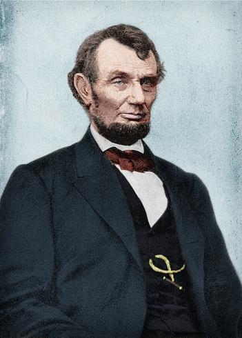 Colorized antique photograph portrait of Abraham Lincoln