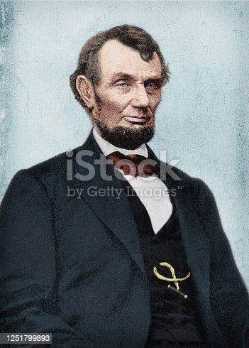 Colorized antique photograph portrait of Abraham Lincoln