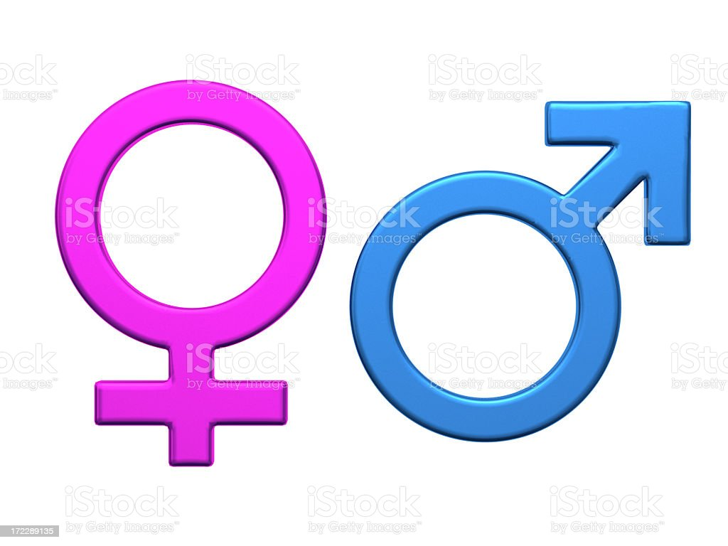 Colorized gender symbols in vector royalty-free stock photo