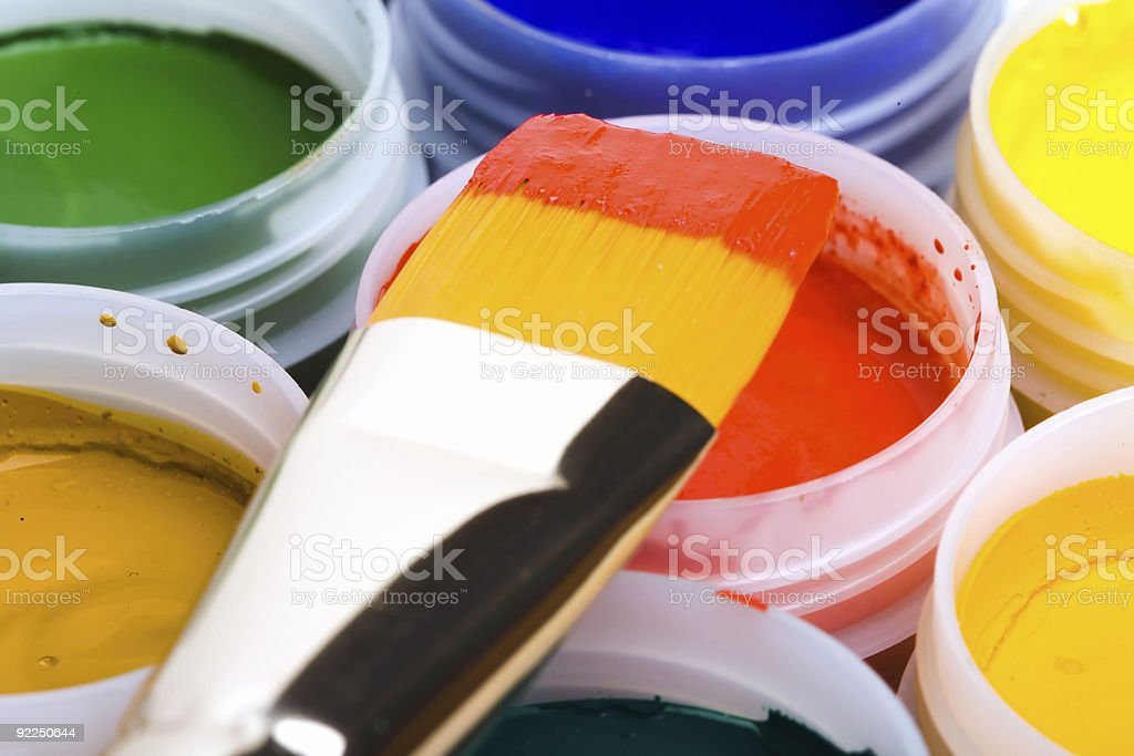 Colors and painting brushes. royalty-free stock photo