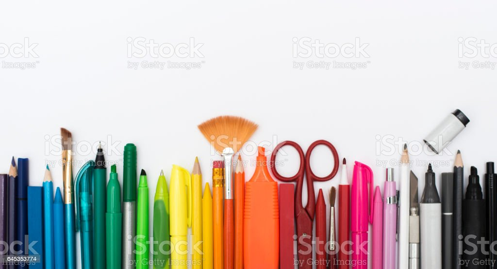 colors arranged on white background header stock photo