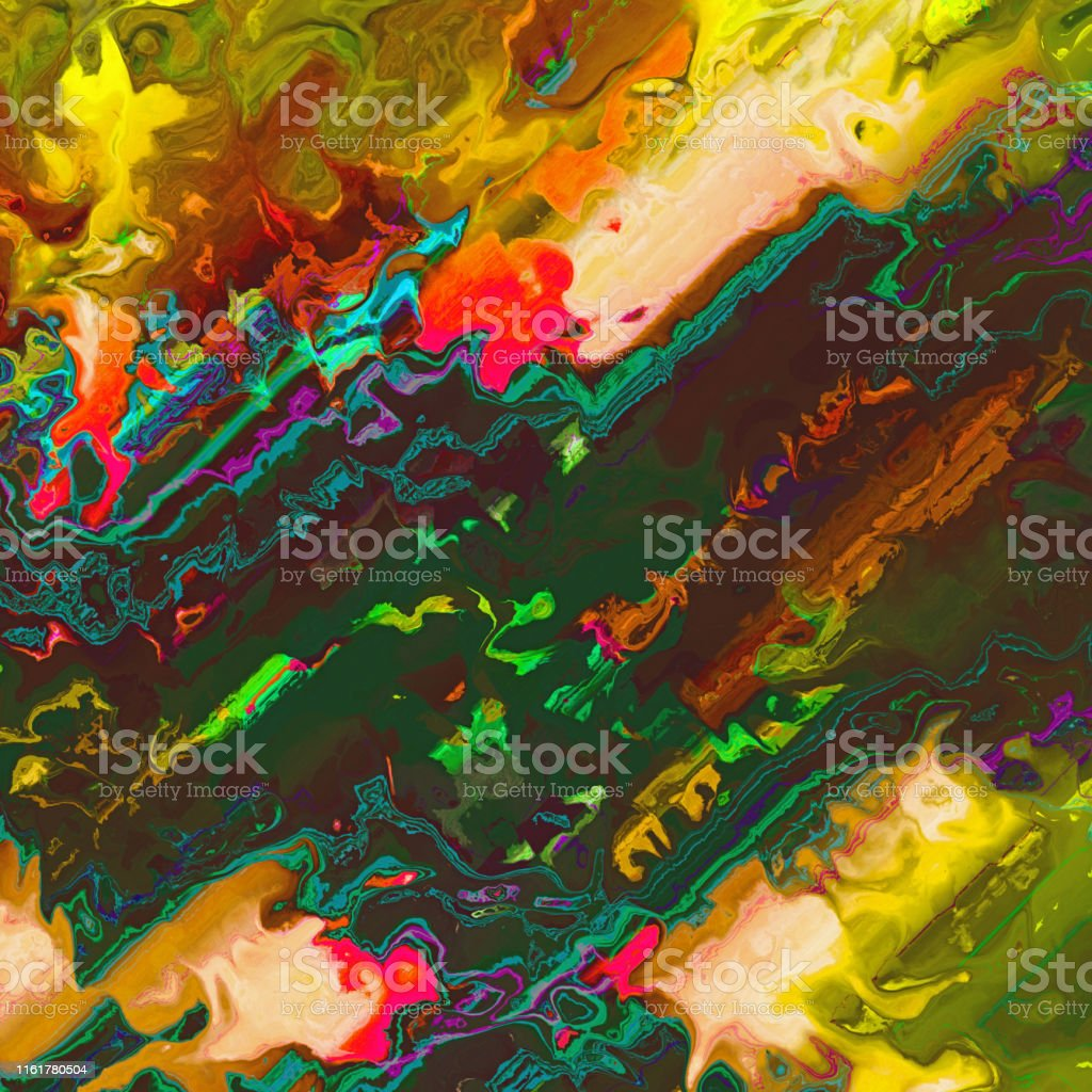Colors mixed together creating colorful abstract painting consisting...