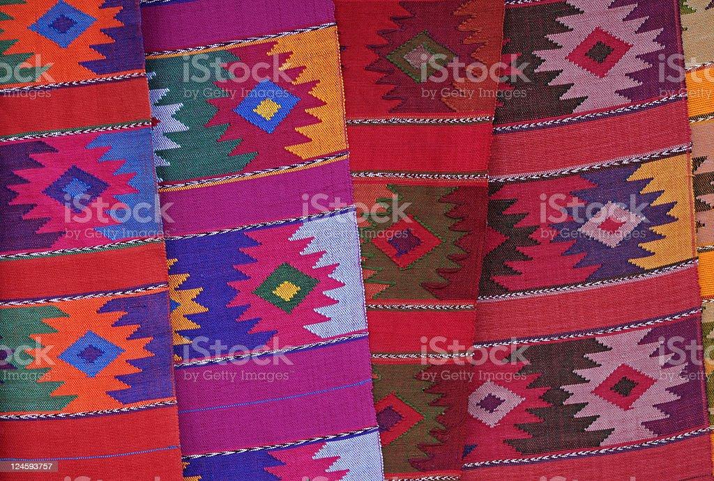 Colors of Chamula Colorful textile on the market in San Juan Chamula, Chiapas. Art Stock Photo