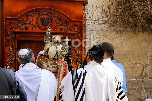 Jerusalem Israel February 5-2018 Religious ceremony with unknowns people front the Western wall on the morning
