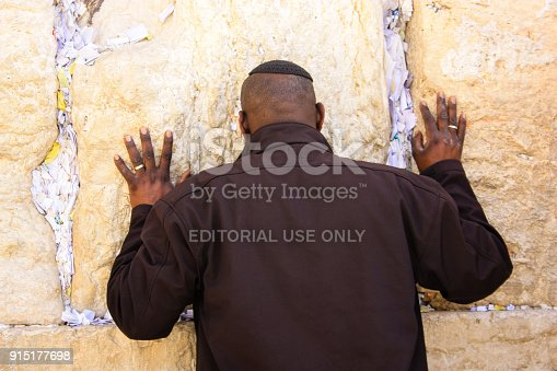 Jerusalem Israel February 5-2018 Unknowns people praying front the Western wall in the old city of Jerusalem on the morning
