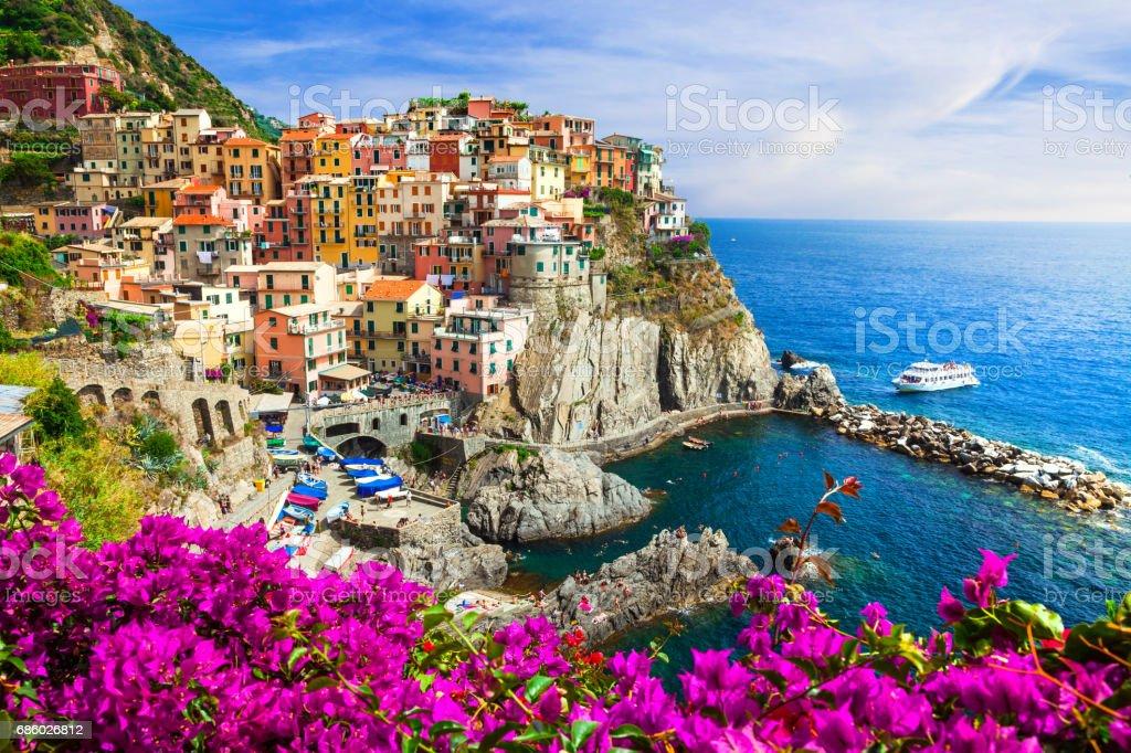 Colors of Italy series -Manarola village , Cinque terre - foto stock