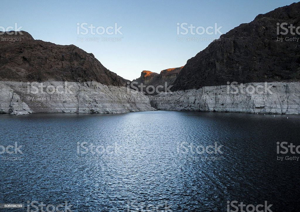 Colors of Lake Mead at Sunset stock photo
