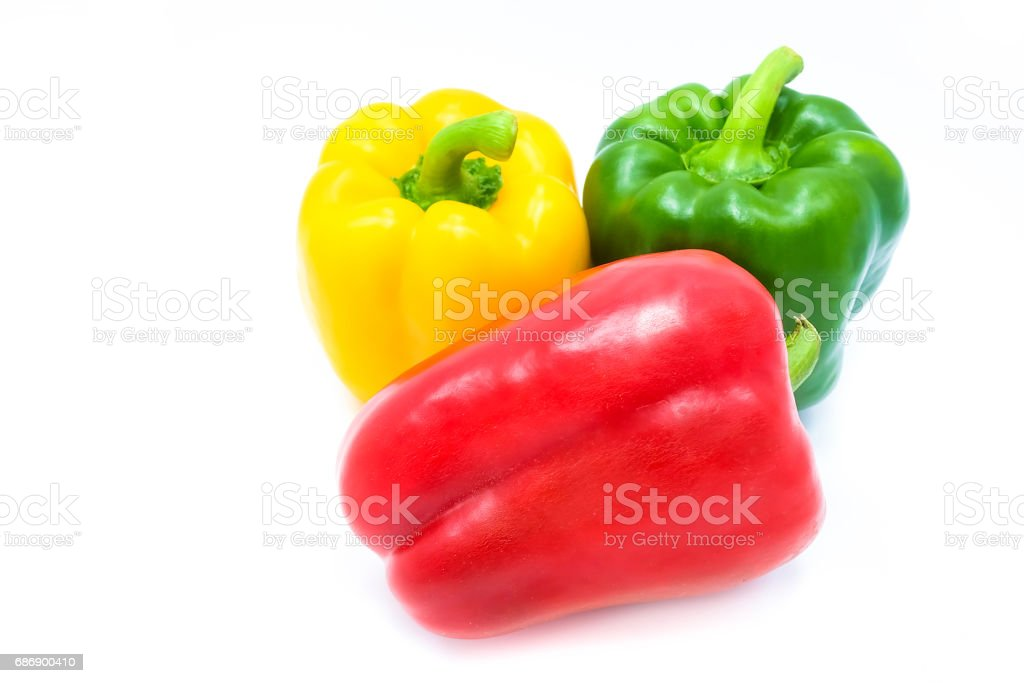 Colors of Paprika or bell peppers, isolated on a white background stock photo