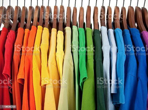 Colors of rainbow clothes on wooden hangers picture id119606200?b=1&k=6&m=119606200&s=612x612&h=7bgui84l4y uwgtx u7 lid0lklc cnpaa7br7sotdk=