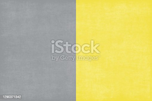 Colors of the Year 2021 Ultimate Gray Illuminating Yellow Grunge Concrete Abstract Texture Trendy Background Sunny Light and Shadow Pattern Copy Space Design template for presentation, flyer, card, poster, brochure, banner