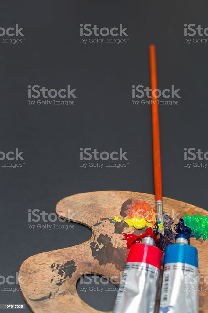 Colors, Palette and Brush stock photo