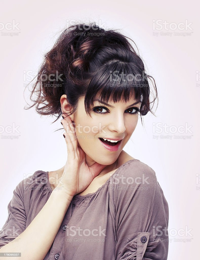 Colors.Beauty portrait of young brunette woman with beautiful smile royalty-free stock photo
